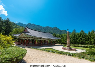 Pavilion in ancient Buddhist monastery Pohyon, North Korea (DPRK).
