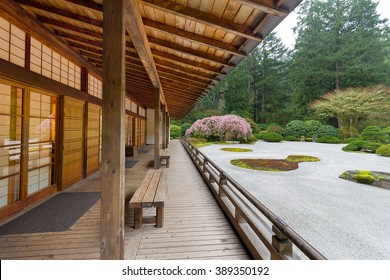 Pavilion by Flat Sand Landscape in Springtime at the Japanese Garden