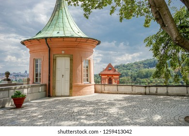 Pavilion of the castle in Prague in summer
