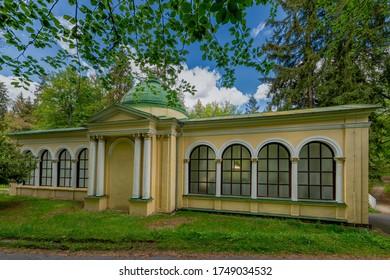 Pavilion of Forest spring mineral water (Czech Lesní pramen) - small west Bohemian spa town Marianske Lazne (Marienbad) - Czech Republic