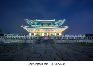 the pavilion of gyeongbokgung palace in night at seoul korea