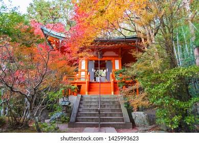 pavilion in japanese garden in Bishamon-Do Temple in autumn season, Kyoto, Japan