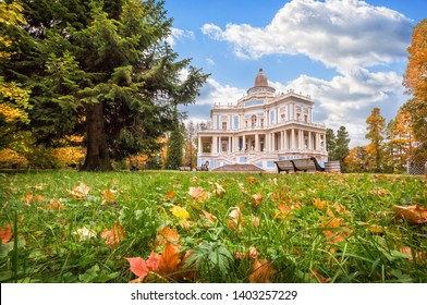 Pavilion Katal'naya Gorka in Oranienbaum, autumn leaves in the grass and green spruces in the park