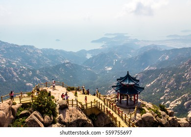 Pavilion on the top of Jufeng trail, Laoshan Mountain, Qingdao, China. Jufeng is the highest trail in Laoshan, where visitors can enjoy beautiful aerial views of the landscape