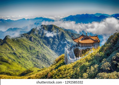 Pavilion in Traditional Classic Chinese Architectural Style in the Mountain of Fansipan, Sapa, Vietnam