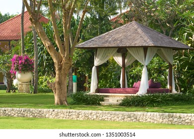 Pavilion in the tropical garden. Bali Island.