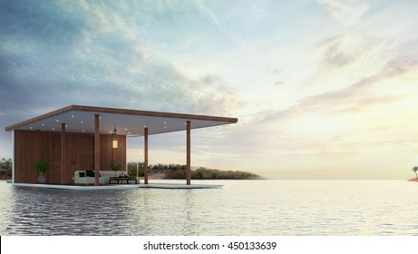 Pavilions on the beach local thai style 3d rendering