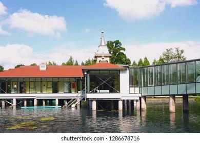 Pavilions on piles over thermal lake. Heviz, Hungary