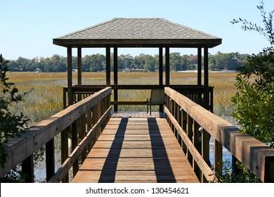 A pavillion overlooking a marsh in Hilton Head, South Carolina
