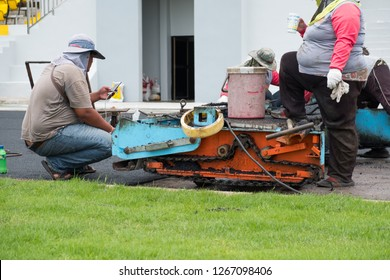 paving machine working on the site construction
