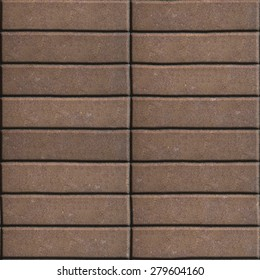 Paving Slabs Brown Lined with Narrow Rectangles. Seamless Tileable Texture.