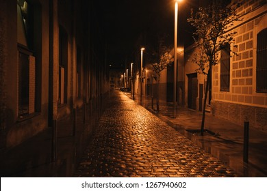A paving stone in an old European city close-up and an old building in the background at night after a rain