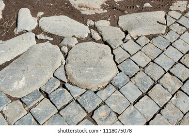 paving stones and slabs on the Via Appia in Rome