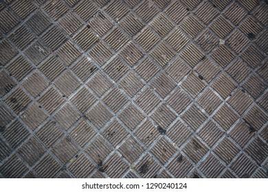 Paving stones in the street, sidewalk detail for pedestrians