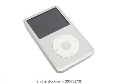 Pavlograd, Ukraine - December 4, 2014: iPod classic 160 Gb. Studio shot, isolated on white background.