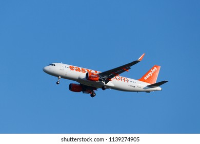 Pavlov, Czech Republic - July 16, 2018 - The Easyjet airliner (aircraft, plane, liner, aeroplane, airplane) before landing on the Prague Vaclav Havel airport.