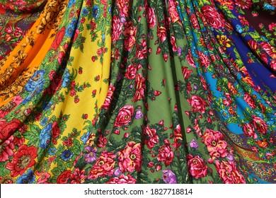 Pavlovo Posad shawl, scarf. Many traditional national russian Pavlovo Posad shawls, scarves. Russian folk, ethnic style in fashion. Vintage Pavlovoposadsky, Pavloposadsky shawl, scarf. Pavlovsky Posad