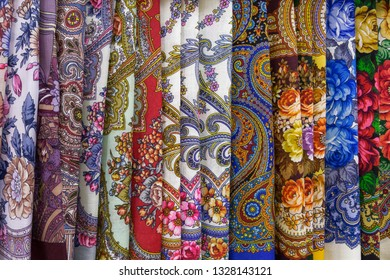 Pavlovo Posad shawls, traditional old russian production. Moscow region, Russia