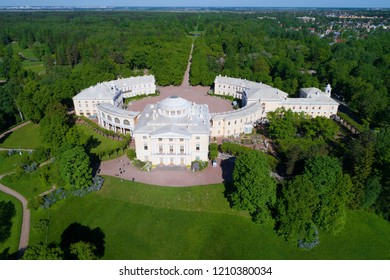Pavlovsk Palace close-up on a sunny May day (set from a quadrocopter). Neighborhood of St. Petersburg, Russia