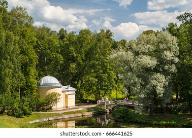 PAVLOVSK / RUSSIA - JULY 2014: Statue in the park of Pavlovsk palace complex, Russia