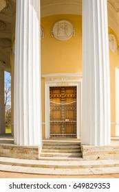 PAVLOVSK, SAINT-PETERSBURG, RUSSIA - MAY 13, 2017:The pavilion Temple of Friendship, 1780-1782, in the Pavlovsk park. Petersburg, Russia. Architect C. Cameron.