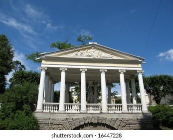 Pavlovsk, surroundings of St.Petersburg, Russia. Pavilion in the park.