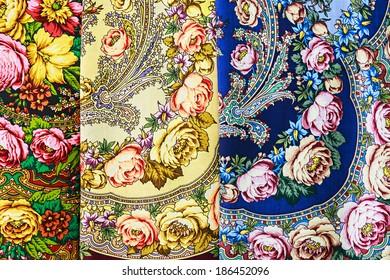 Pavlovsky Posad, Russia - April 5, 2014: Pavlovsky Posad shawls. Pavlovsky Posad shawls considered highly artistic and cultural values of Russian folk art.