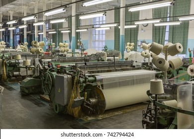 PAVLOVSKY POSAD, RUSSIA - OCTOBER 21, 2017: Weaving machinery in the Partnership of Manufactories