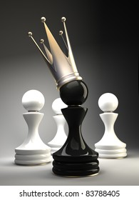Pawn in a golden crown 3d