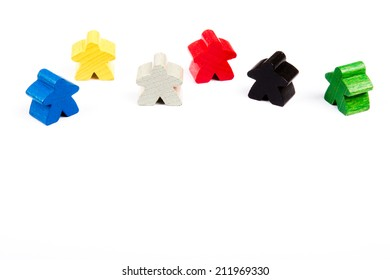 pawns of different colors with men shape