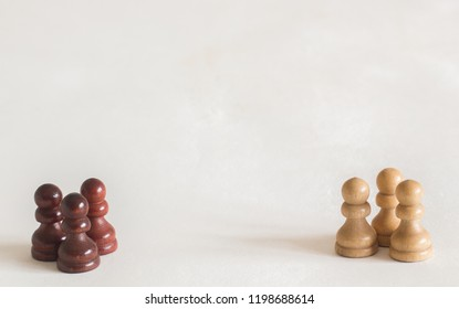 Pawns isolated in a White background. Rio Claro, São Paulo, Brazil, October 2018.