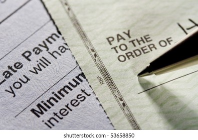Pay the bill. Shot with shallow depth of field.