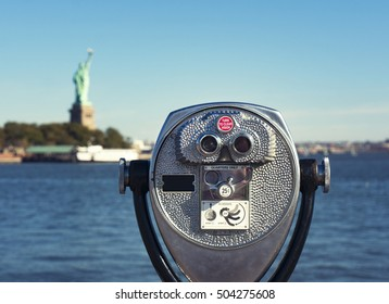 pay binoculars to see the statue of liberty from Liberty State Park, New Jersey