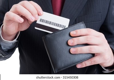 Pay by credit card concept or secure payment transaction with businessman, wallet and suit