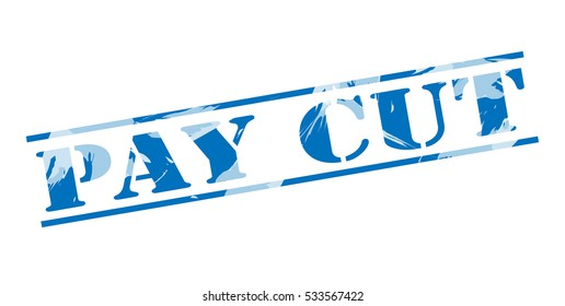 pay cut blue stamp on white background