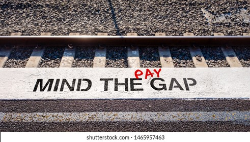 Pay gap, mind the pay gap graffiti inequality gap between employees pay concept illustration