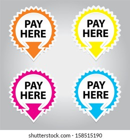 Pay Here button, icon, sticker or symbols for business - jpeg format.