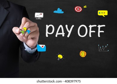 PAY OFF Businessman drawing Landing Page on blurred abstract background