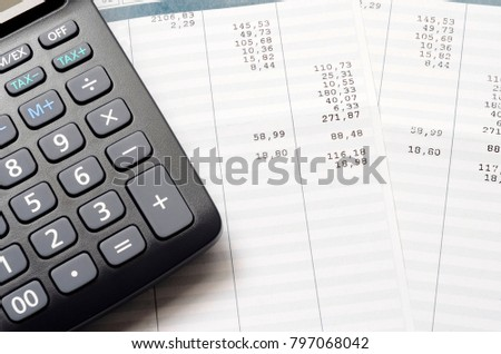 pay slip calculator close payroll salary stock photo edit now