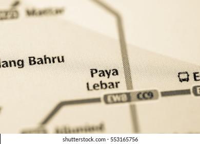 Paya Lebar Station. Singapore Metro map.