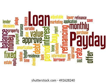 Payday Loan, word cloud concept on white background.