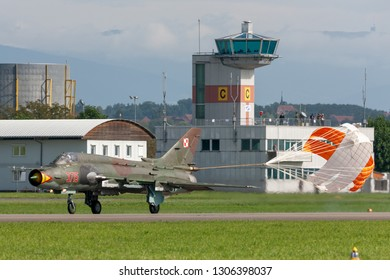 Payerne, Switzerland - August 29, 2014: Polish Air Force (Sily Powietrzne) Sukhoi Su-22M4 (Sukhoi Su-17) fighter/attack aircraft.