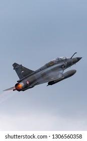 Payerne, Switzerland - August 29, 2014: French Air Force (Armee De L'Air) Dassault Mirage 2000N multirole fighter aircraft.