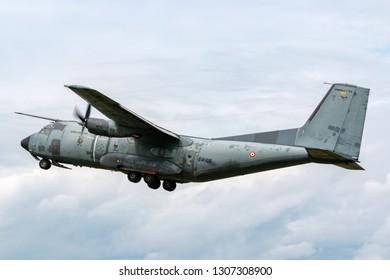 Payerne, Switzerland - August 29, 2014: French Air Force (Armee De L'Air) Transall C-160R twin engine military transport aircraft.
