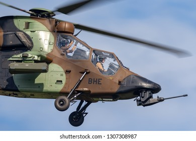 Payerne, Switzerland - August 29, 2014: French Army (Armee De Terre) Eurocopter EC665 Tiger attack helicopter.