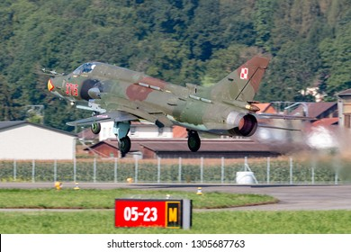 Payerne, Switzerland - August 30, 2014: Polish Air Force (Sily Powietrzne) Sukhoi Su-22M4 (Sukhoi Su-17) fighter/attack aircraft.
