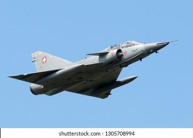 Payerne, Switzerland - August 30, 2014: Former Swiss Air Force Dassault Mirage III fighter aircraft J-2012 (HB-RDF).