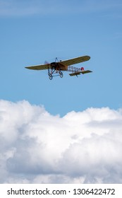 Payerne, Switzerland - August 30, 2014: Vintage Bleriot XI aircraft owned and operated by Mikael Carlson.