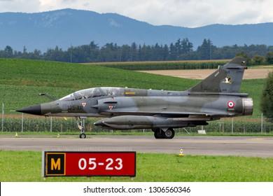 Payerne, Switzerland - August 30, 2014: French Air Force (Armee De L'Air) Dassault Mirage 2000N multirole fighter aircraft.