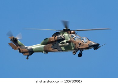 Payerne, Switzerland - August 30, 2014: French Army (Armee De Terre) Eurocopter EC665 Tiger attack helicopter.